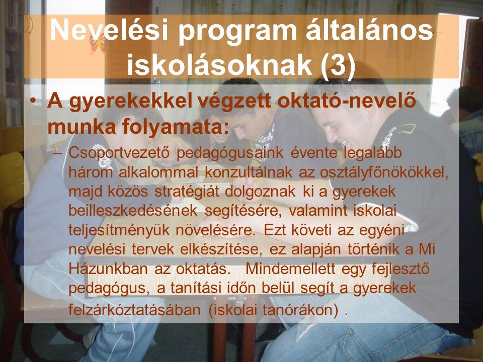 Nevelési program általános iskolásoknak (3) •A gyerekekkel végzett oktató-nevelő munka folyamata: –Csoportvezető pedagógusaink évente legalább három a