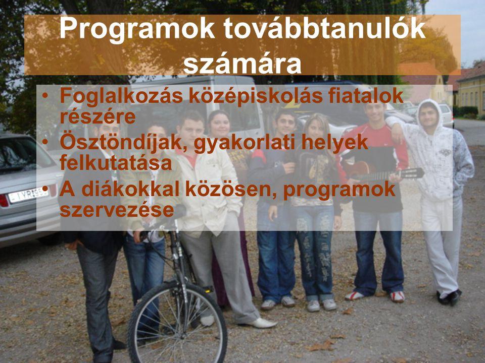 Programok továbbtanulók számára •Foglalkozás középiskolás fiatalok részére •Ösztöndíjak, gyakorlati helyek felkutatása •A diákokkal közösen, programok