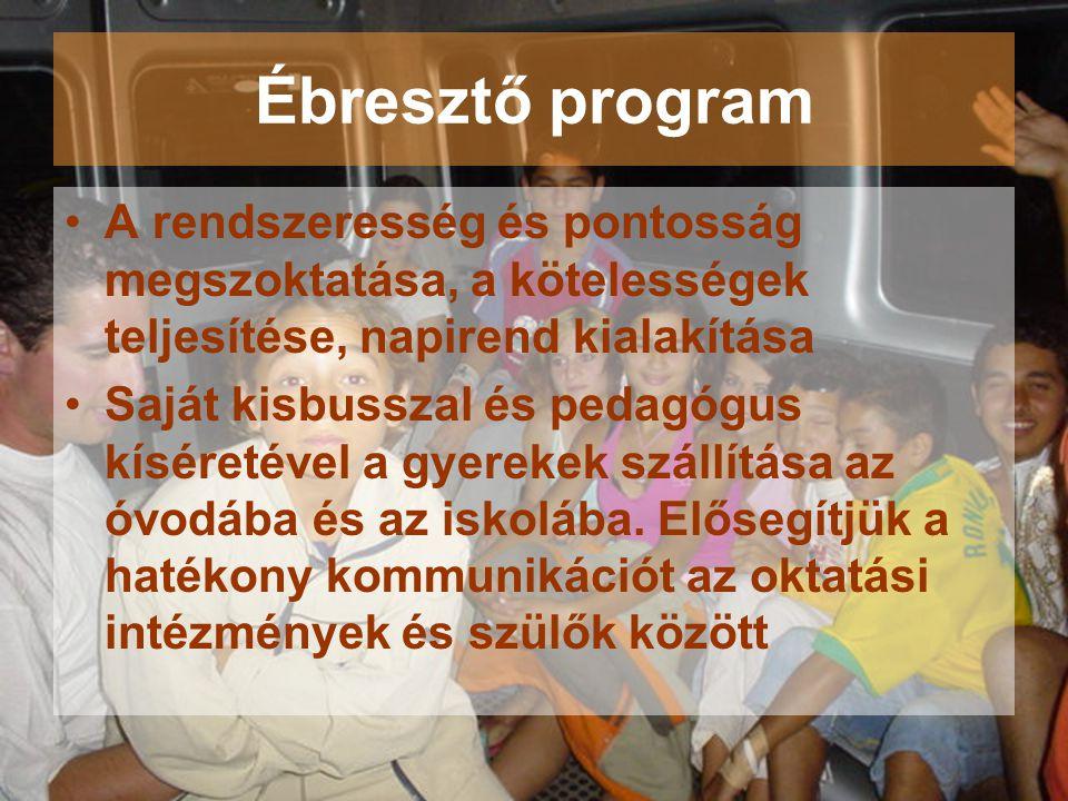 Ébresztő program •A rendszeresség és pontosság megszoktatása, a kötelességek teljesítése, napirend kialakítása •Saját kisbusszal és pedagógus kíséreté