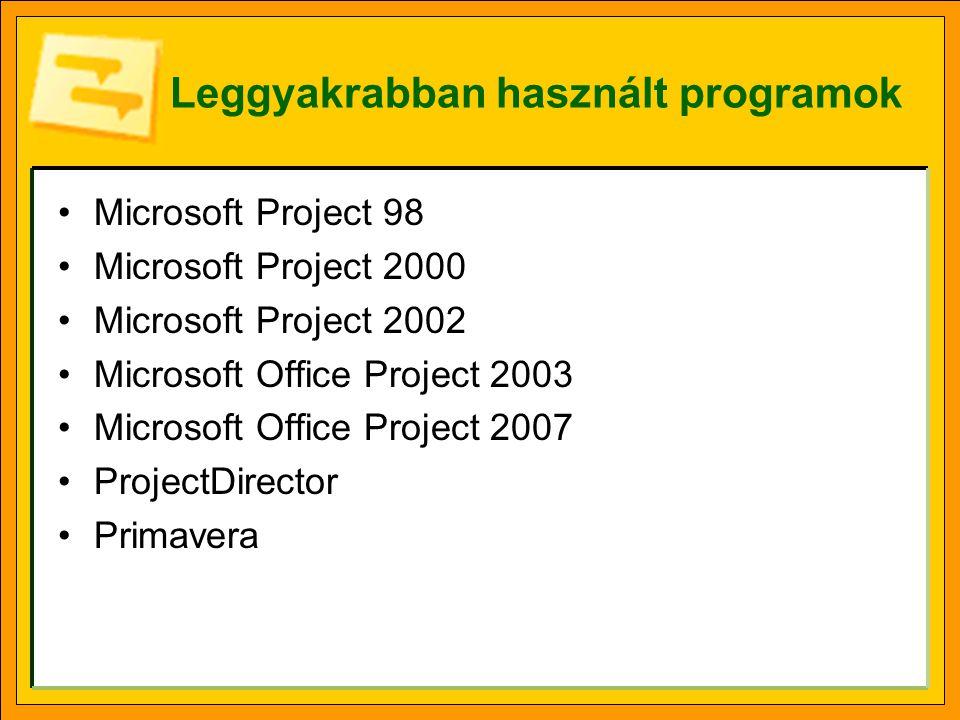 Az MS-Project főbb jellemzői •A hálóban a tevékenységek a csomópontok, ezeket kötik össze az ú.n.