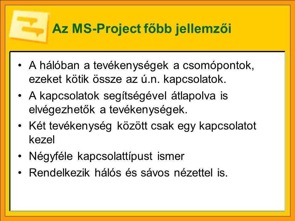 Az MS-Project főbb jellemzői •A hálóban a tevékenységek a csomópontok, ezeket kötik össze az ú.n. kapcsolatok. •A kapcsolatok segítségével átlapolva i