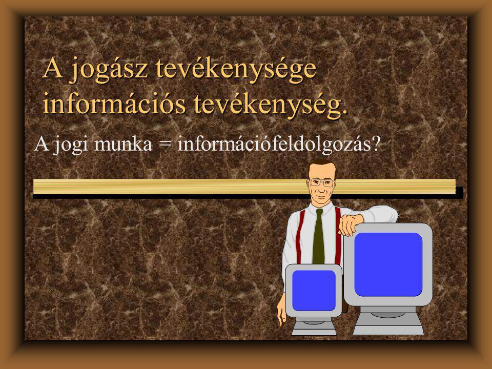 Mai témáink u A jogász és az informatika viszonya u Információs tevékenység a jog területén u Az információ fogalma u Az informatika és számítástechnika viszonya u Az információ tudománya u Az informatikai stúdium tárgya u A számítógép a jogászi munkában