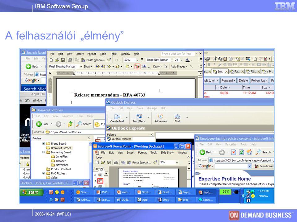 """IBM Software Group © 2003 IBM Corporation 2006-10-24 (WPLC) A felhasználói """"élmény"""