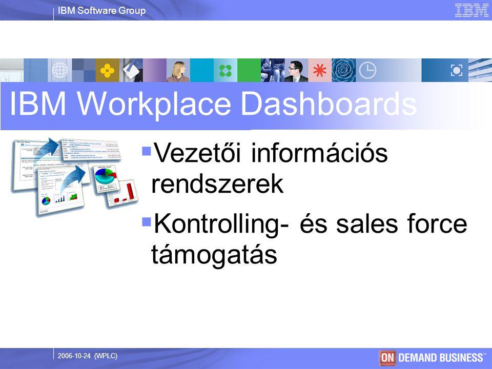 IBM Software Group © 2003 IBM Corporation 2006-10-24 (WPLC) IBM Workplace Dashboards  Vezetői információs rendszerek  Kontrolling- és sales force támogatás