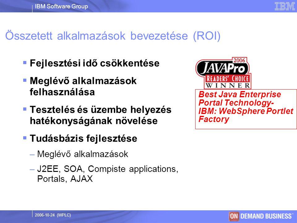 IBM Software Group © 2003 IBM Corporation 2006-10-24 (WPLC) Összetett alkalmazások bevezetése (ROI)  Fejlesztési idő csökkentése  Meglévő alkalmazások felhasználása  Tesztelés és üzembe helyezés hatékonyságának növelése  Tudásbázis fejlesztése –Meglévő alkalmazások –J2EE, SOA, Compiste applications, Portals, AJAX Best Java Enterprise Portal Technology- IBM: WebSphere Portlet Factory