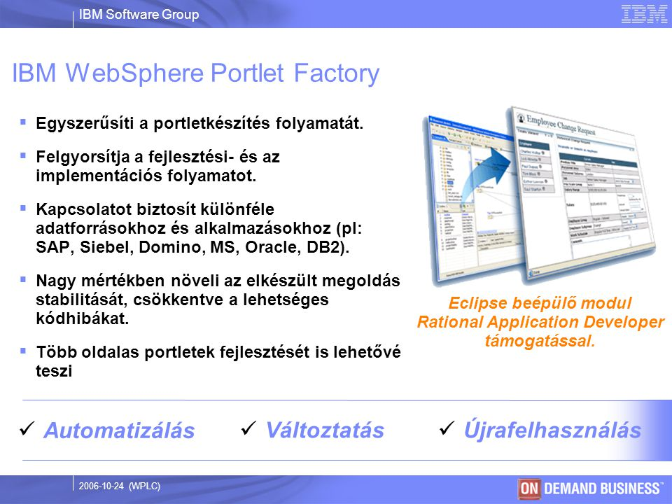 IBM Software Group © 2003 IBM Corporation 2006-10-24 (WPLC) Eclipse beépülő modul Rational Application Developer támogatással.