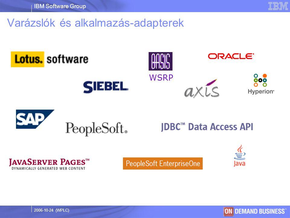 IBM Software Group © 2003 IBM Corporation 2006-10-24 (WPLC) Varázslók és alkalmazás-adapterek WSRP