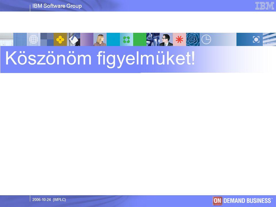 IBM Software Group © 2003 IBM Corporation 2006-10-24 (WPLC) Köszönöm figyelmüket!