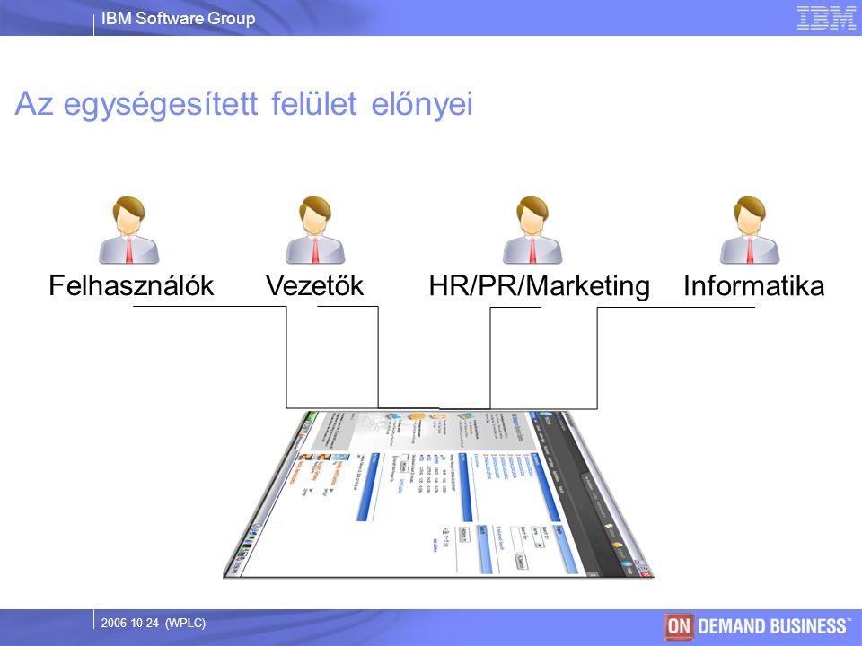 IBM Software Group © 2003 IBM Corporation 2006-10-24 (WPLC) Az egységesített felület előnyei FelhasználókVezetők HR/PR/MarketingInformatika