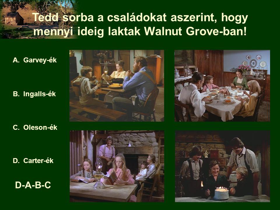 Tedd sorba a családokat aszerint, hogy mennyi ideig laktak Walnut Grove-ban! A.Garvey-ék B.Ingalls-ék C.Oleson-ék D.Carter-ék D-A-B-C
