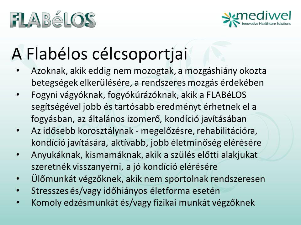 A Flabélos célcsoportjai • Azoknak, akik eddig nem mozogtak, a mozgáshiány okozta betegségek elkerülésére, a rendszeres mozgás érdekében • Fogyni vágyóknak, fogyókúrázóknak, akik a FLABéLOS segítségével jobb és tartósabb eredményt érhetnek el a fogyásban, az általános izomerő, kondíció javításában • Az idősebb korosztálynak - megelőzésre, rehabilitációra, kondíció javítására, aktívabb, jobb életminőség elérésére • Anyukáknak, kismamáknak, akik a szülés előtti alakjukat szeretnék visszanyerni, a jó kondíció elérésére • Ülőmunkát végzőknek, akik nem sportolnak rendszeresen • Stresszes és/vagy időhiányos életforma esetén • Komoly edzésmunkát és/vagy fizikai munkát végzőknek