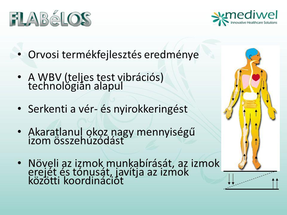 • Orvosi termékfejlesztés eredménye • A WBV (teljes test vibrációs) technológián alapul • Serkenti a vér- és nyirokkeringést • Akaratlanul okoz nagy mennyiségű izom összehúzódást • Növeli az izmok munkabírását, az izmok erejét és tónusát, javítja az izmok közötti koordinációt