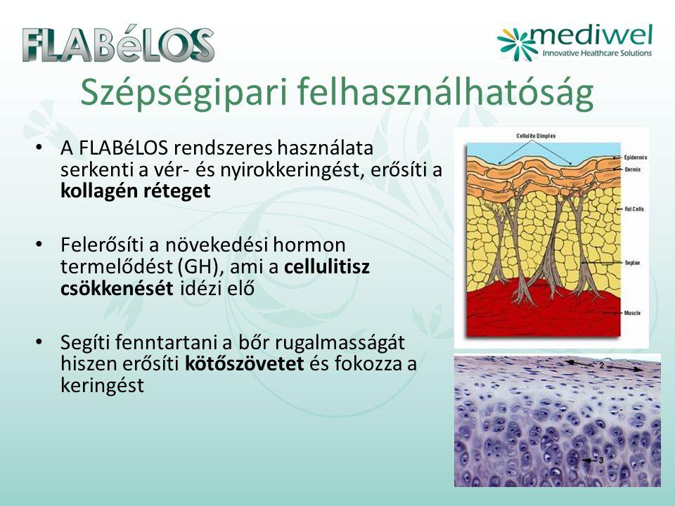 Szépségipari felhasználhatóság • A FLABéLOS rendszeres használata serkenti a vér- és nyirokkeringést, erősíti a kollagén réteget • Felerősíti a növekedési hormon termelődést (GH), ami a cellulitisz csökkenését idézi elő • Segíti fenntartani a bőr rugalmasságát hiszen erősíti kötőszövetet és fokozza a keringést