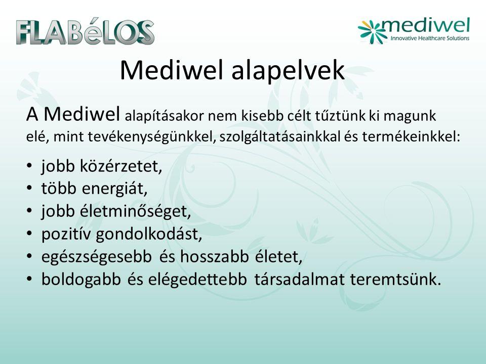 Mediwel alapelvek A Mediwel alapításakor nem kisebb célt tűztünk ki magunk elé, mint tevékenységünkkel, szolgáltatásainkkal és termékeinkkel: • jobb közérzetet, • több energiát, • jobb életminőséget, • pozitív gondolkodást, • egészségesebb és hosszabb életet, • boldogabb és elégedettebb társadalmat teremtsünk.