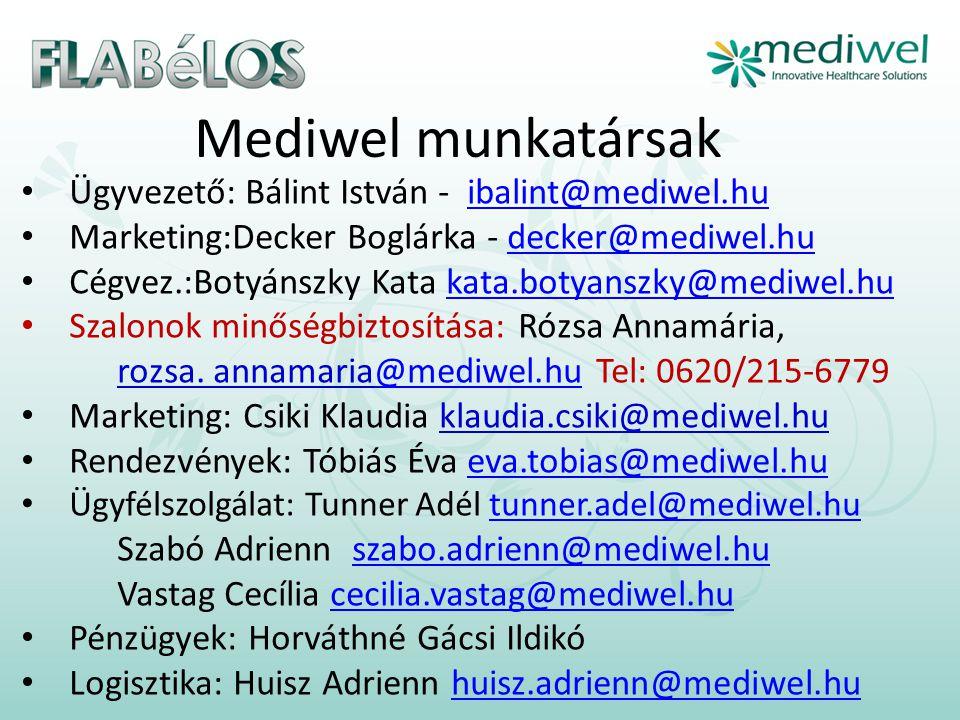 Mediwel munkatársak • Ügyvezető: Bálint István - ibalint@mediwel.huibalint@mediwel.hu • Marketing:Decker Boglárka - decker@mediwel.hudecker@mediwel.hu • Cégvez.:Botyánszky Kata kata.botyanszky@mediwel.hukata.botyanszky@mediwel.hu • Szalonok minőségbiztosítása: Rózsa Annamária, rozsa.