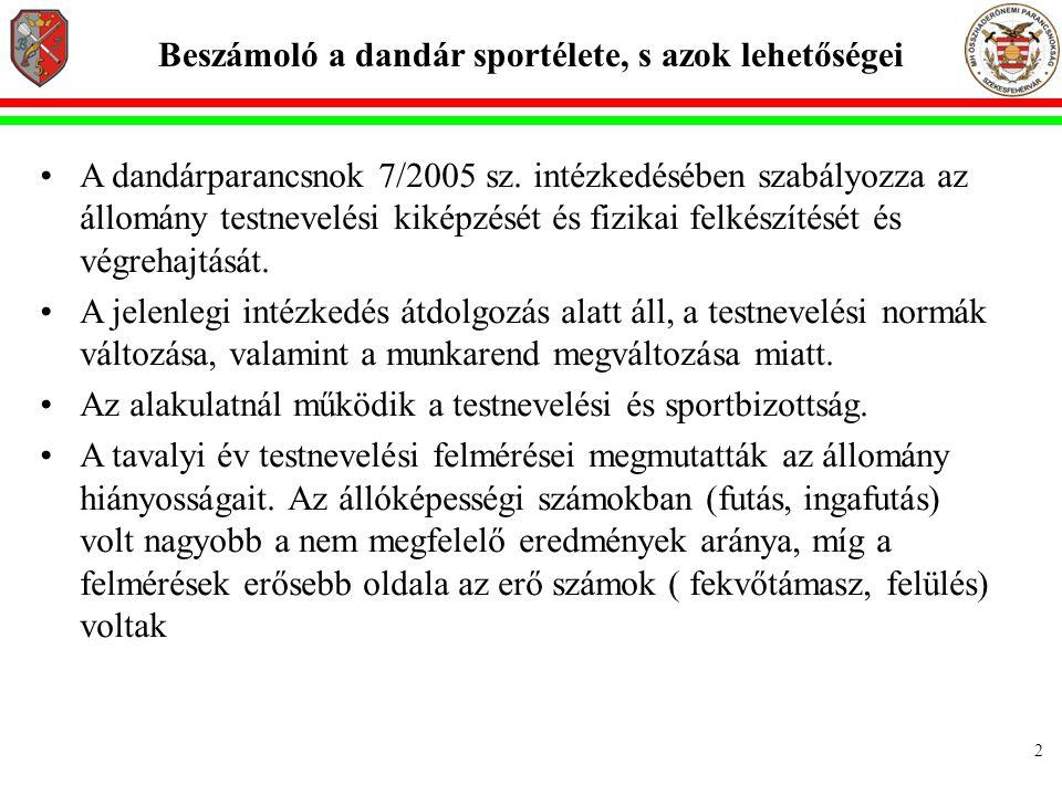 2 Beszámoló a dandár sportélete, s azok lehetőségei •A dandárparancsnok 7/2005 sz.