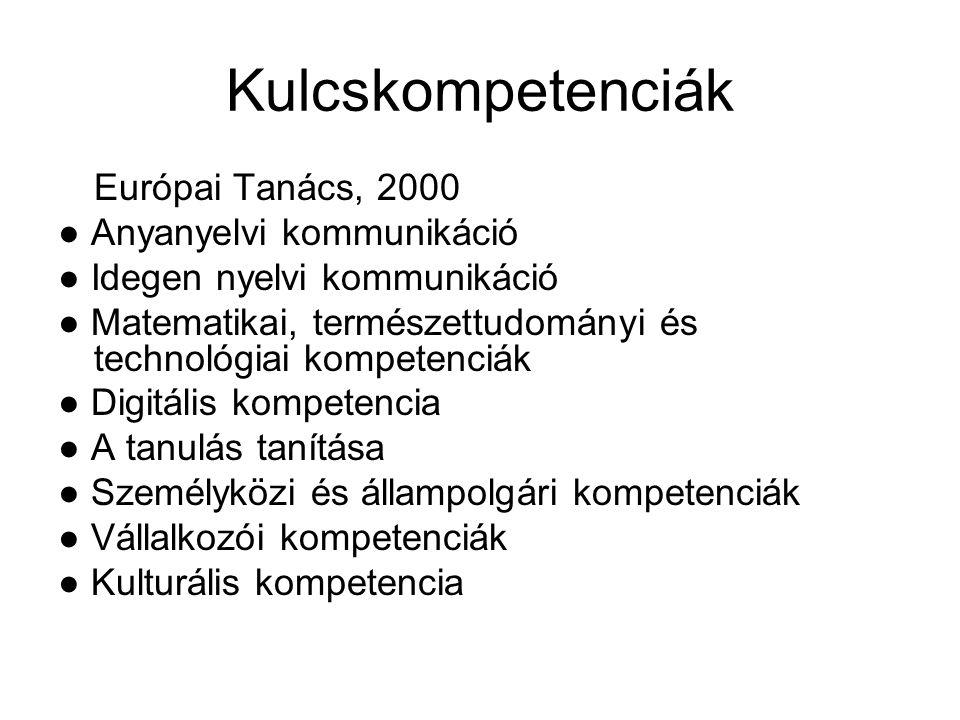Kulcskompetenciák Európai Tanács, 2000 ● Anyanyelvi kommunikáció ● Idegen nyelvi kommunikáció ● Matematikai, természettudományi és technológiai kompet