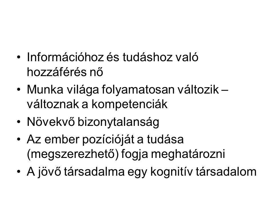 Kulcskompetenciák Európai Tanács, 2000 ● Anyanyelvi kommunikáció ● Idegen nyelvi kommunikáció ● Matematikai, természettudományi és technológiai kompetenciák ● Digitális kompetencia ● A tanulás tanítása ● Személyközi és állampolgári kompetenciák ● Vállalkozói kompetenciák ● Kulturális kompetencia