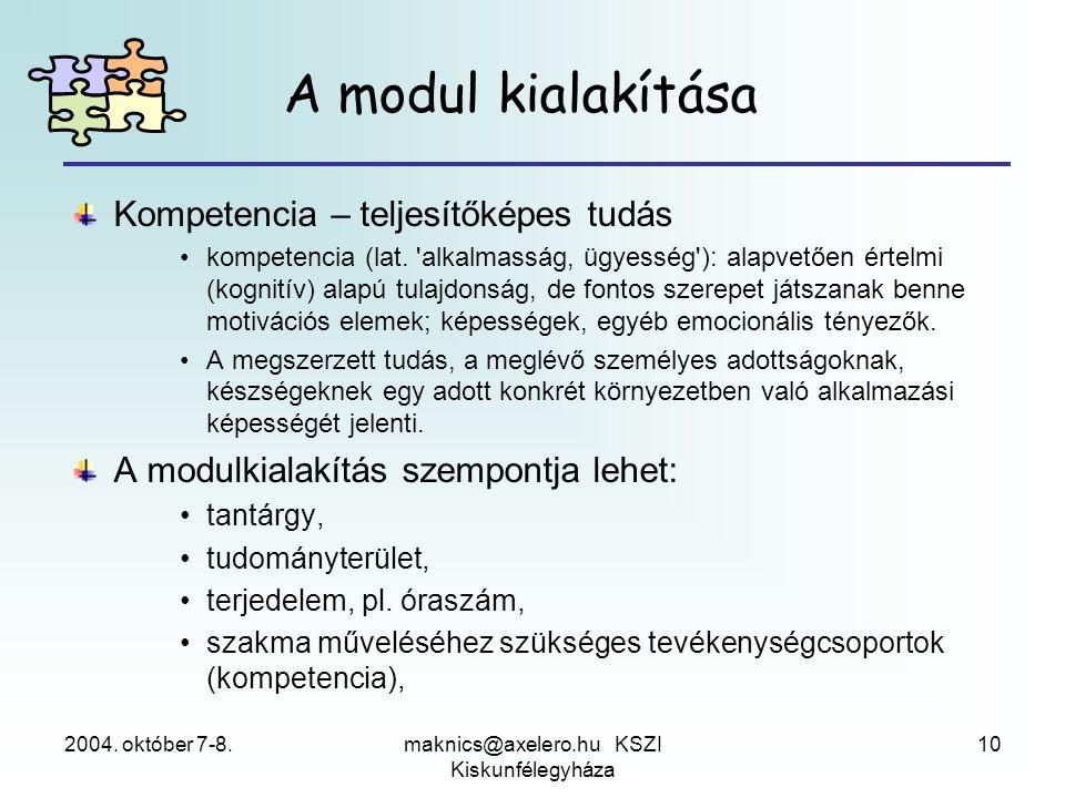 2004. október 7-8.maknics@axelero.hu KSZI Kiskunfélegyháza 10 A modul kialakítása Kompetencia – teljesítőképes tudás •kompetencia (lat. 'alkalmasság,