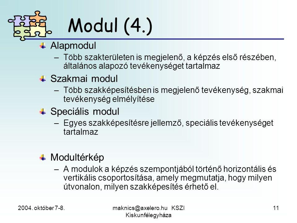 2004. október 7-8.maknics@axelero.hu KSZI Kiskunfélegyháza 11 Modul (4.) Alapmodul –Több szakterületen is megjelenő, a képzés első részében, általános