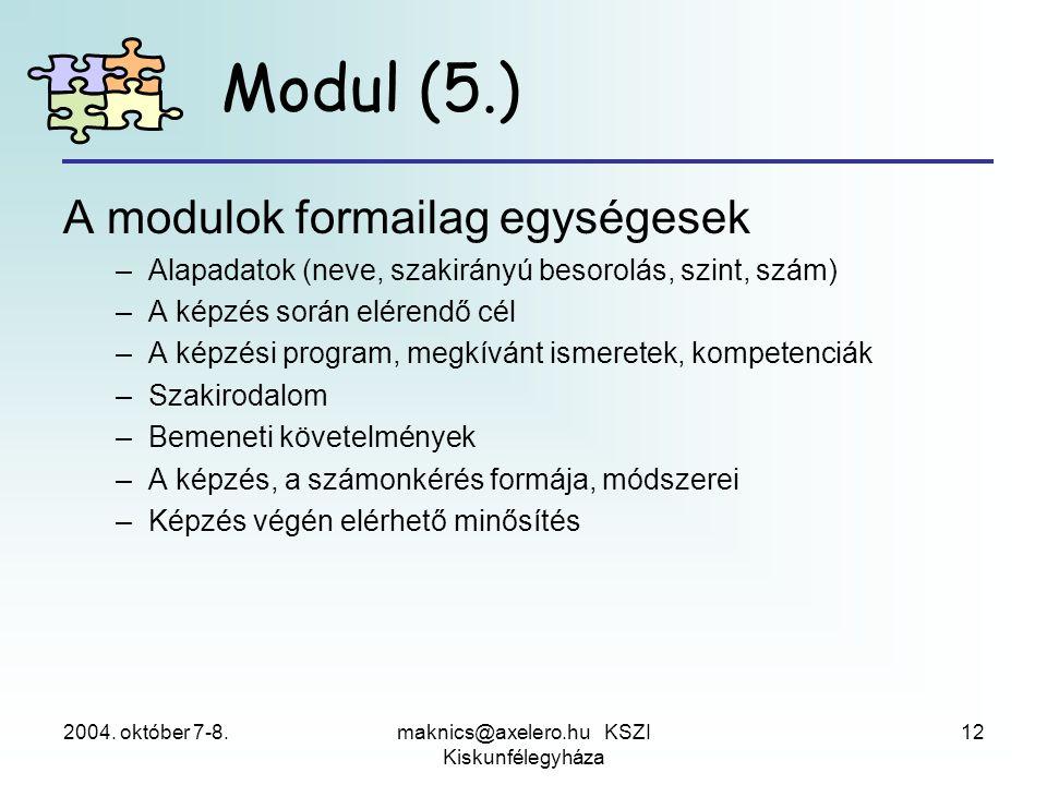 2004. október 7-8.maknics@axelero.hu KSZI Kiskunfélegyháza 12 Modul (5.) A modulok formailag egységesek –Alapadatok (neve, szakirányú besorolás, szint