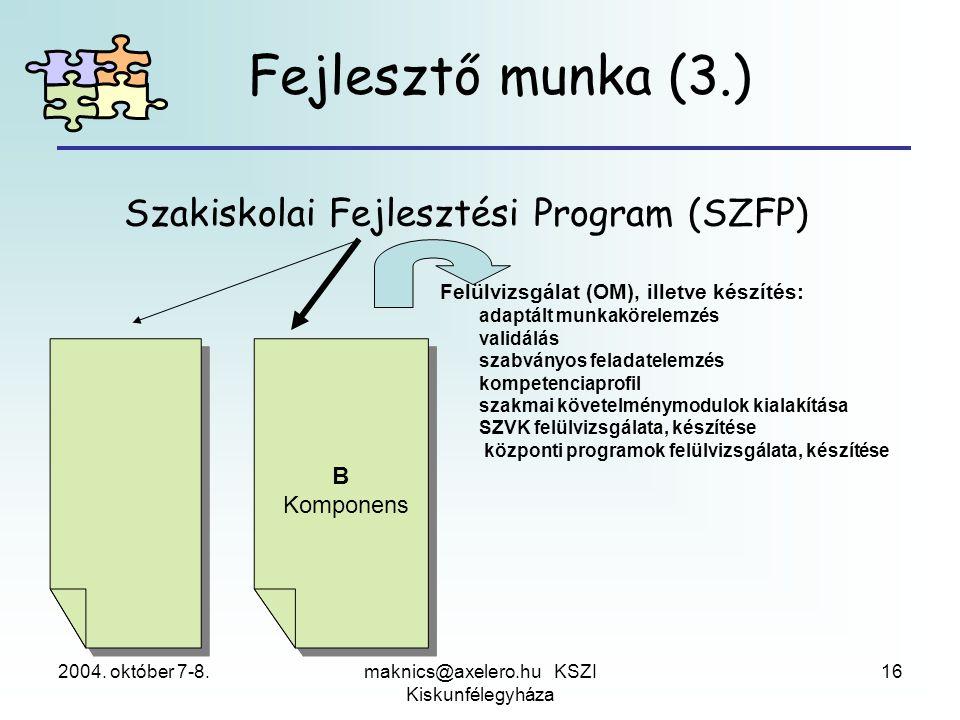 2004. október 7-8.maknics@axelero.hu KSZI Kiskunfélegyháza 16 Szakiskolai Fejlesztési Program (SZFP) Felülvizsgálat (OM), illetve készítés: adaptált m