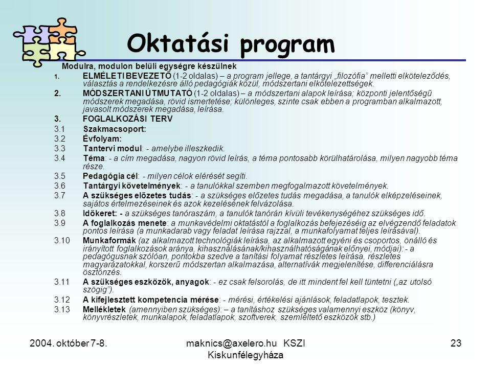 2004. október 7-8.maknics@axelero.hu KSZI Kiskunfélegyháza 23 Modulra, modulon belüli egységre készülnek 1. ELMÉLETI BEVEZETŐ (1-2 oldalas) – a progra