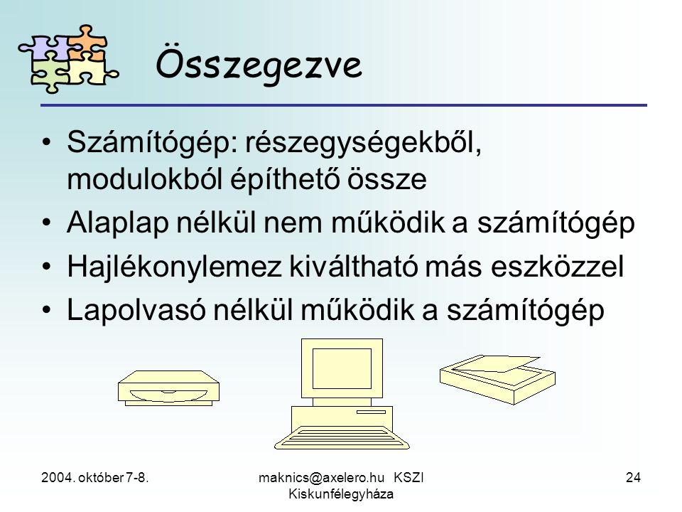 2004. október 7-8.maknics@axelero.hu KSZI Kiskunfélegyháza 24 Összegezve •Számítógép: részegységekből, modulokból építhető össze •Alaplap nélkül nem m