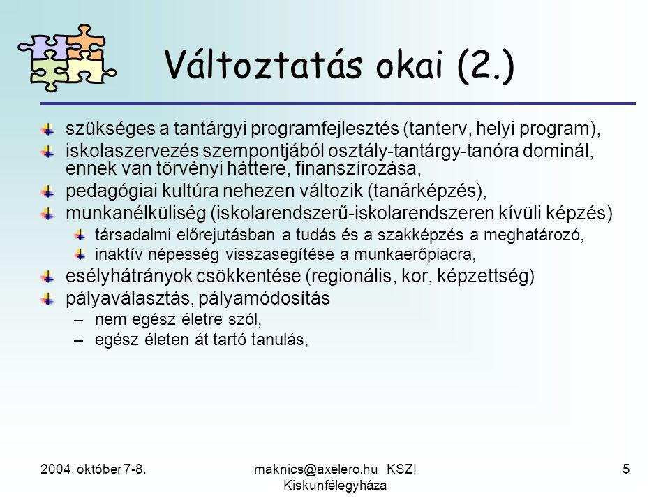 2004. október 7-8.maknics@axelero.hu KSZI Kiskunfélegyháza 5 szükséges a tantárgyi programfejlesztés (tanterv, helyi program), iskolaszervezés szempon