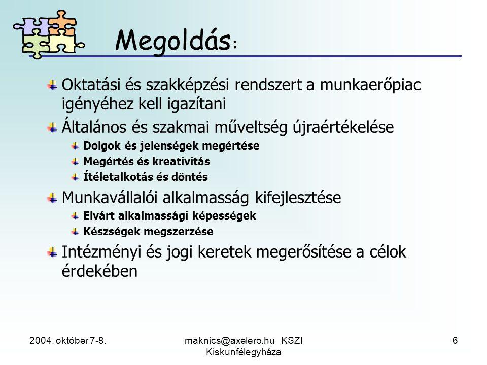2004. október 7-8.maknics@axelero.hu KSZI Kiskunfélegyháza 6 Oktatási és szakképzési rendszert a munkaerőpiac igényéhez kell igazítani Általános és sz