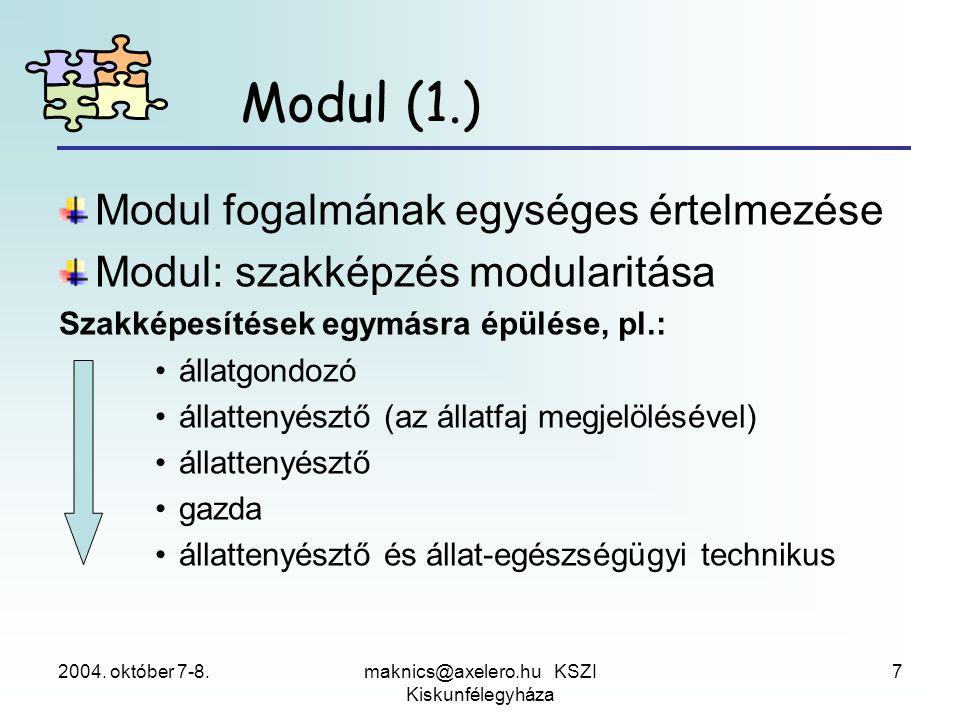 2004. október 7-8.maknics@axelero.hu KSZI Kiskunfélegyháza 7 Modul (1.) Modul fogalmának egységes értelmezése Modul: szakképzés modularitása Szakképes