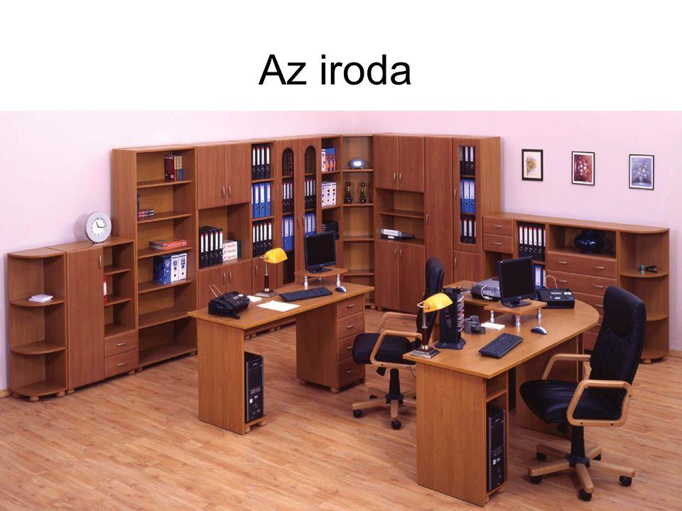 Irodabútorok •Elvárás, hogy az iroda berendezése igazodjon a munka menetéhez, valamint a technikai feltételekhez •Törekedni kell arra, hogy a bútorok ne legyenek nagyméretűek •Irodabútor: –Szék –Íróasztal –Tároló szekrények:
