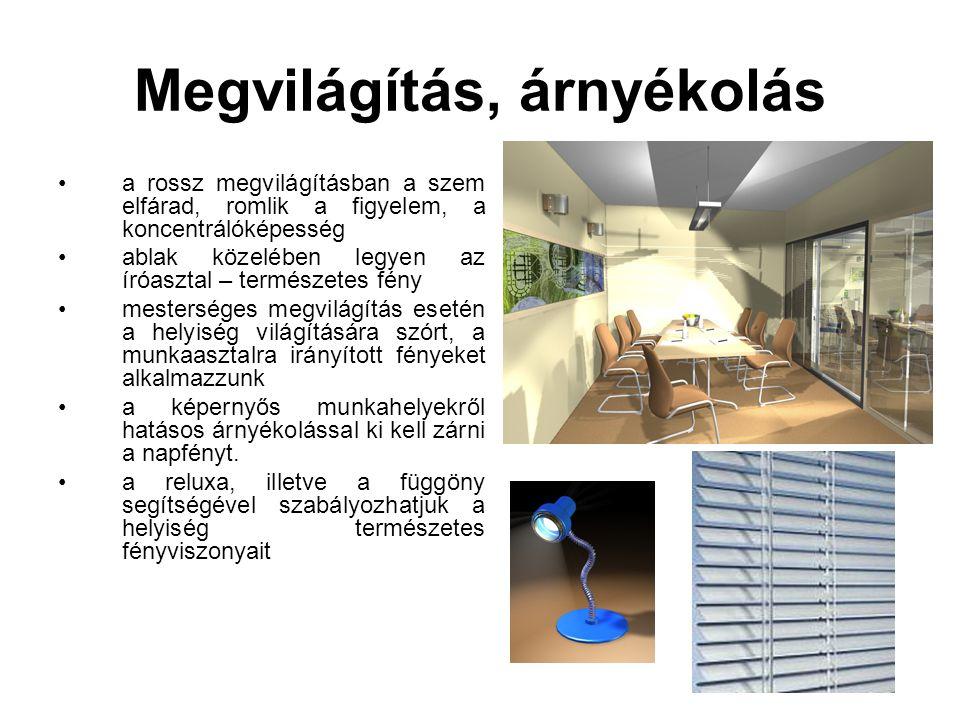 Megvilágítás, árnyékolás •a rossz megvilágításban a szem elfárad, romlik a figyelem, a koncentrálóképesség •ablak közelében legyen az íróasztal – term