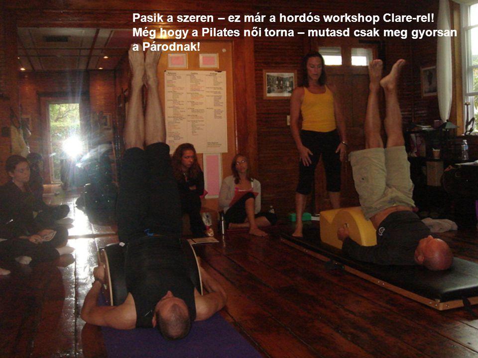 Pasik a szeren – ez már a hordós workshop Clare-rel.