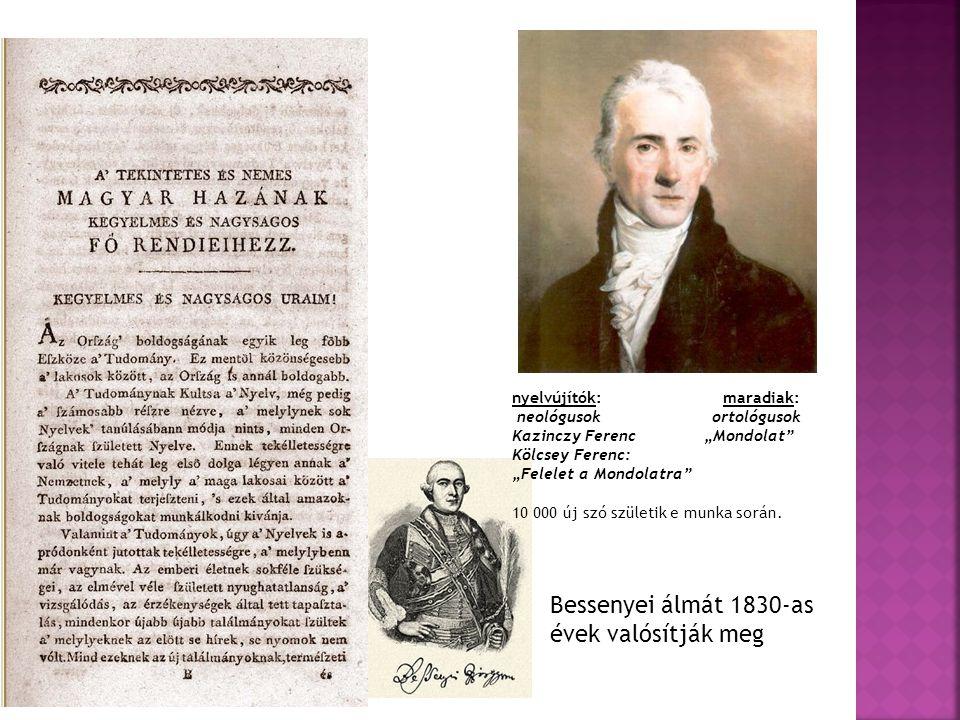 """nyelvújítók: maradiak: neológusok ortológusok Kazinczy Ferenc""""Mondolat"""" Kölcsey Ferenc: """"Felelet a Mondolatra"""" 10 000 új szó születik e munka során. B"""
