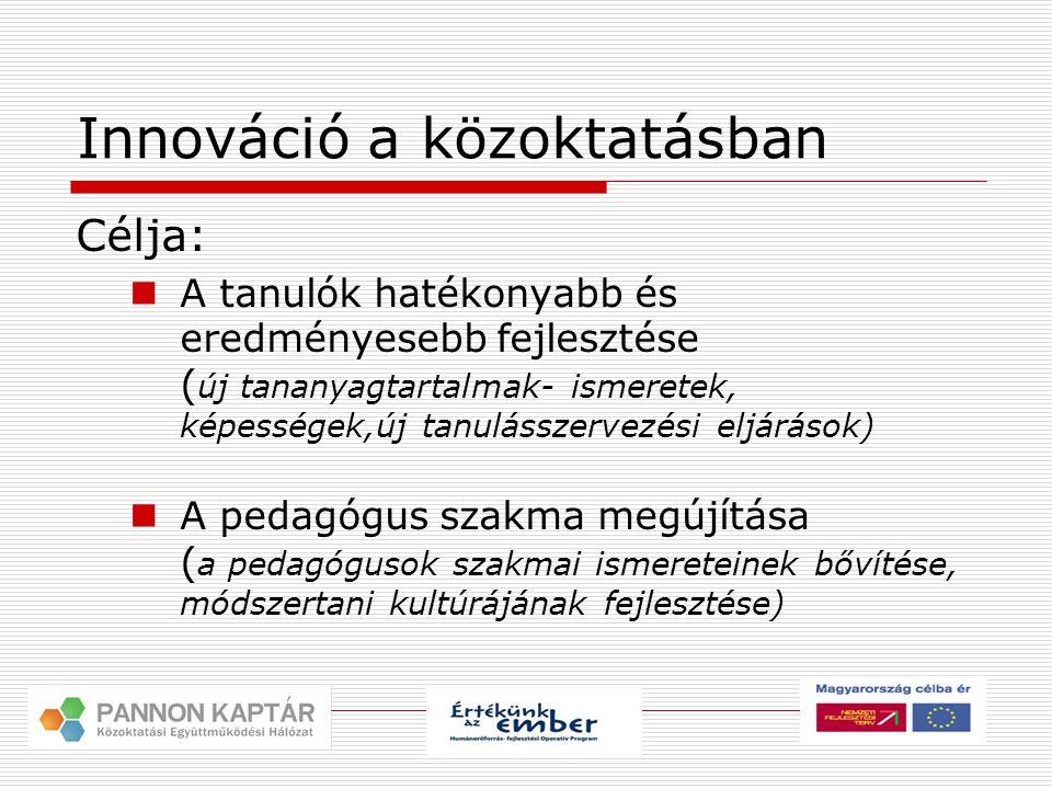 Innováció a közoktatásban Célja:  A tanulók hatékonyabb és eredményesebb fejlesztése ( új tananyagtartalmak- ismeretek, képességek,új tanulásszervezési eljárások)  A pedagógus szakma megújítása ( a pedagógusok szakmai ismereteinek bővítése, módszertani kultúrájának fejlesztése)
