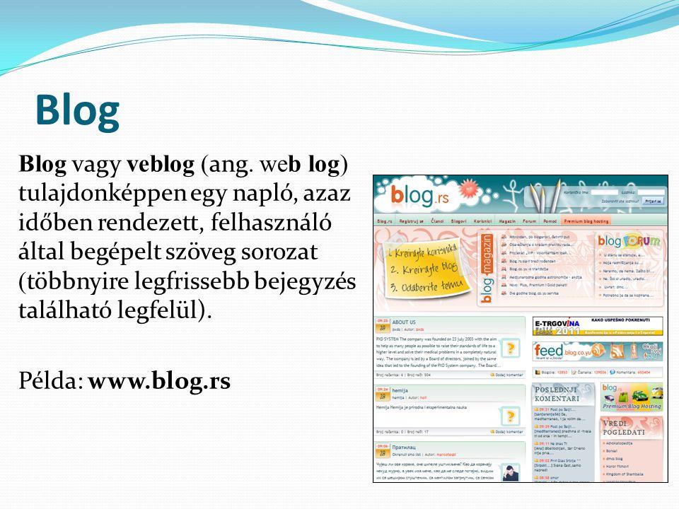 Blog Blog vagy veblog (ang.