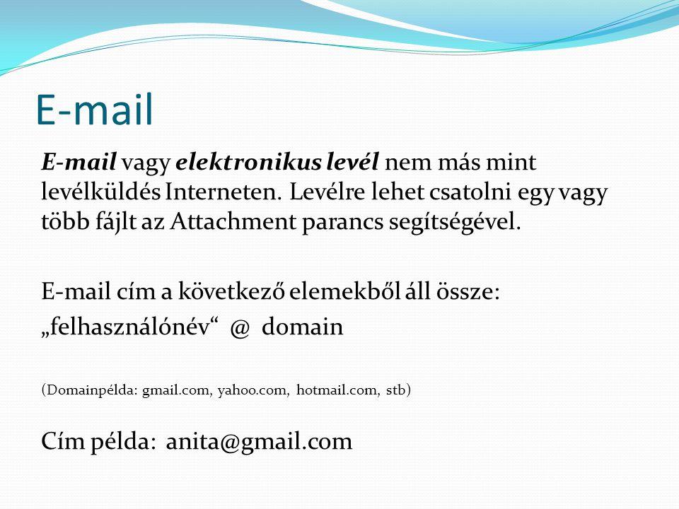 E-mail E-mail vagy elektronikus levél nem más mint levélküldés Interneten.