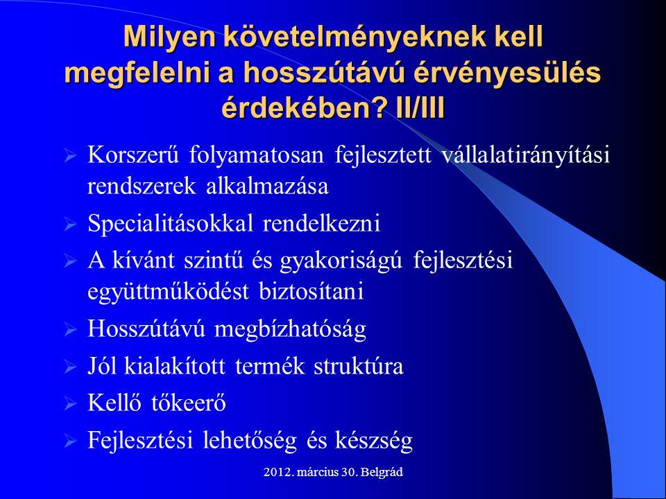 2012. március 30. Belgrád Milyen követelményeknek kell megfelelni a hosszútávú érvényesülés érdekében? II/III  Korszerű folyamatosan fejlesztett váll