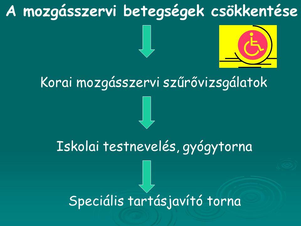 A mozgásszervi betegségek csökkentése Korai mozgásszervi szűrővizsgálatok Iskolai testnevelés, gyógytorna Speciális tartásjavító torna