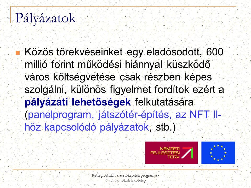 Rettegi Attila választókerületi programja - 3. sz. vk. Oladi lakótelep Pályázatok  Közös törekvéseinket egy eladósodott, 600 millió forint működési h