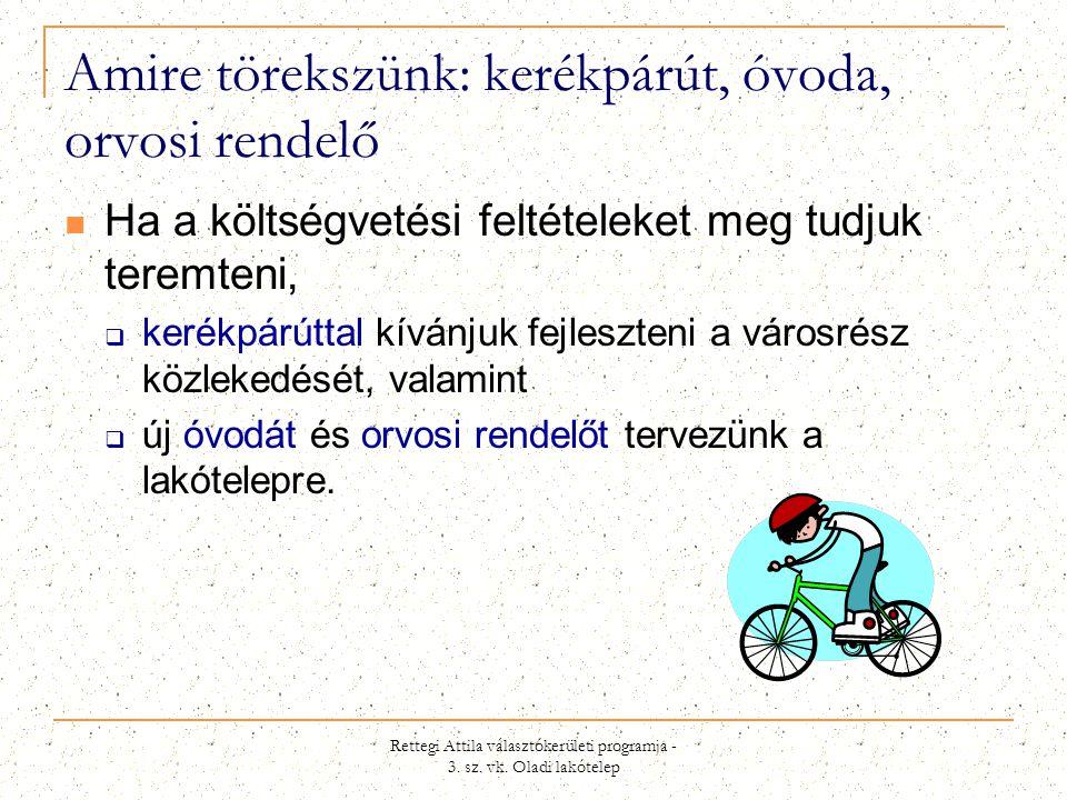 Rettegi Attila választókerületi programja - 3. sz. vk. Oladi lakótelep Amire törekszünk: kerékpárút, óvoda, orvosi rendelő  Ha a költségvetési feltét