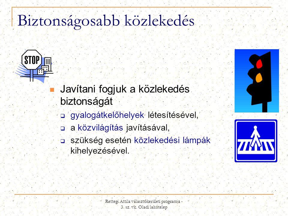Rettegi Attila választókerületi programja - 3. sz. vk. Oladi lakótelep Biztonságosabb közlekedés  Javítani fogjuk a közlekedés biztonságát  gyalogát