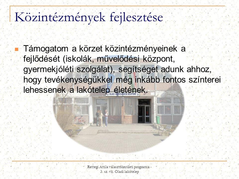Rettegi Attila választókerületi programja - 3. sz. vk. Oladi lakótelep Közintézmények fejlesztése  Támogatom a körzet közintézményeinek a fejlődését