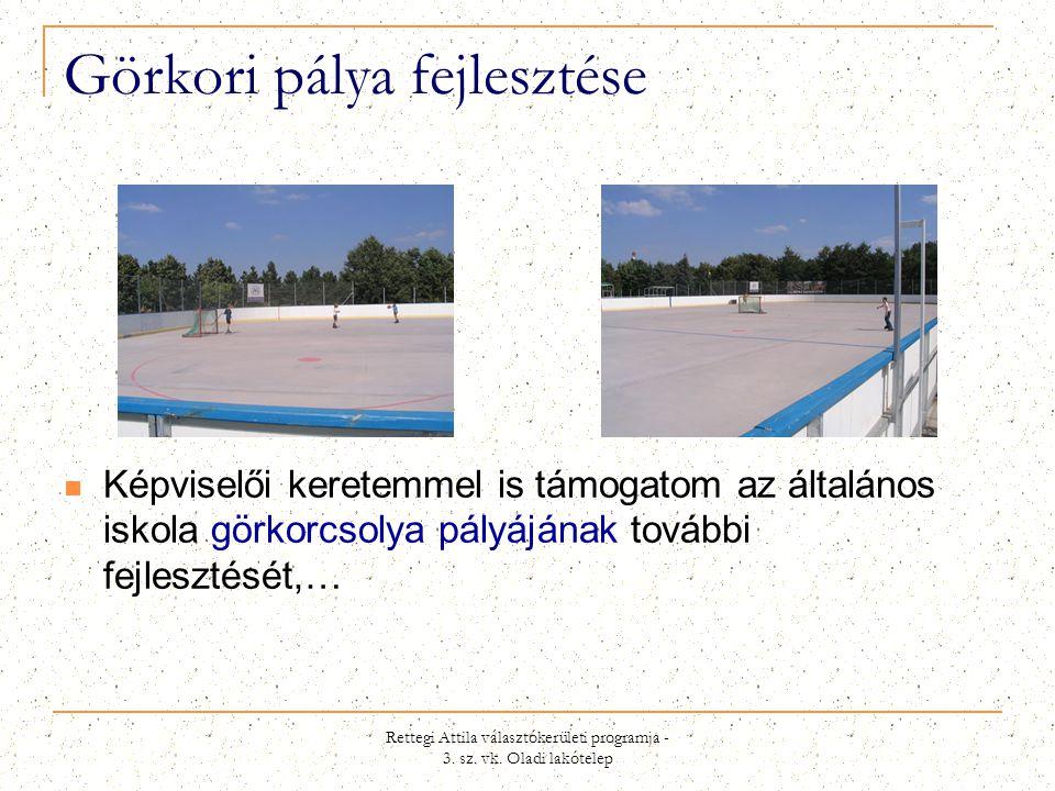 Rettegi Attila választókerületi programja - 3. sz. vk. Oladi lakótelep Görkori pálya fejlesztése  Képviselői keretemmel is támogatom az általános isk