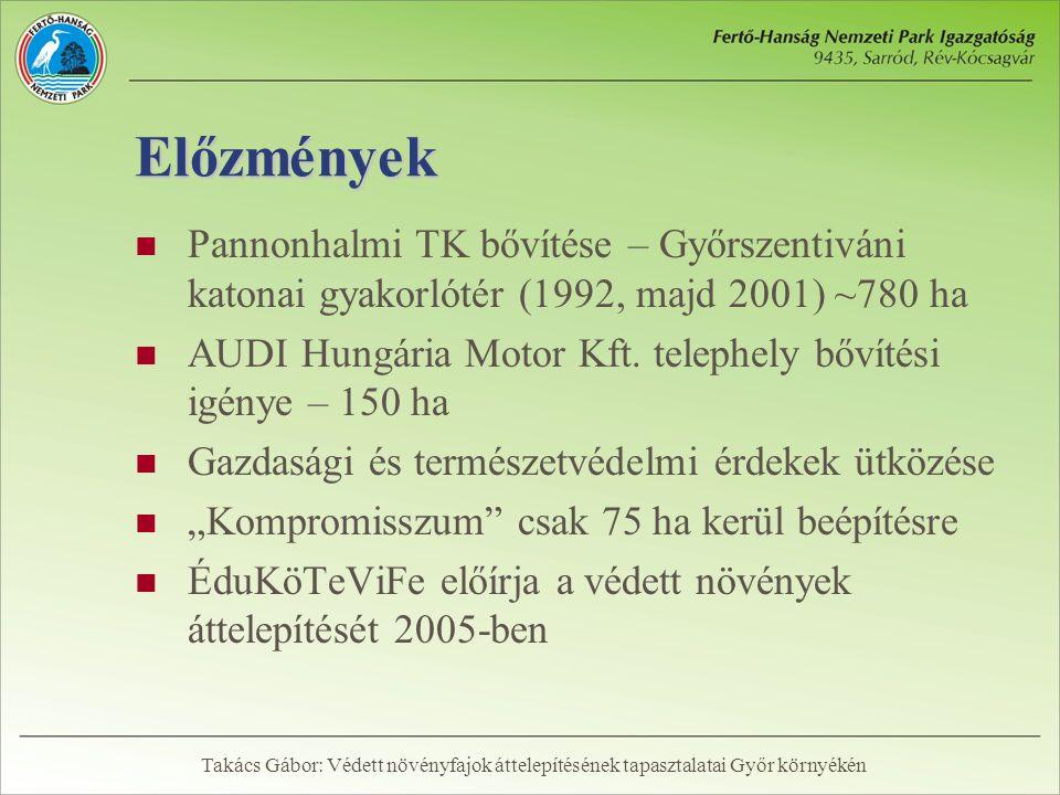 Előzmények  Pannonhalmi TK bővítése – Győrszentiváni katonai gyakorlótér (1992, majd 2001) ~780 ha  AUDI Hungária Motor Kft. telephely bővítési igén
