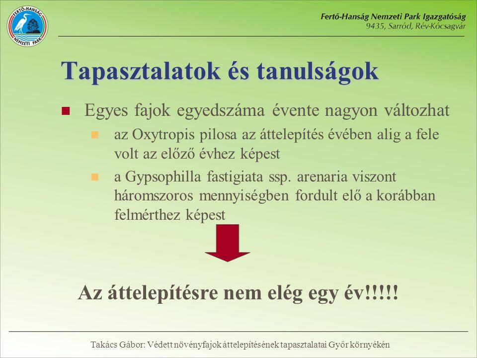 Tapasztalatok és tanulságok  Egyes fajok egyedszáma évente nagyon változhat  az Oxytropis pilosa az áttelepítés évében alig a fele volt az előző évhez képest  a Gypsophilla fastigiata ssp.