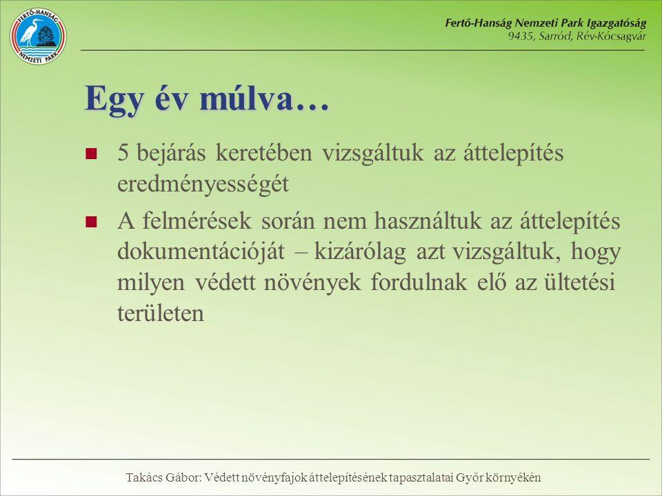 Egy év múlva…  5 bejárás keretében vizsgáltuk az áttelepítés eredményességét  A felmérések során nem használtuk az áttelepítés dokumentációját – kizárólag azt vizsgáltuk, hogy milyen védett növények fordulnak elő az ültetési területen Takács Gábor: Védett növényfajok áttelepítésének tapasztalatai Győr környékén