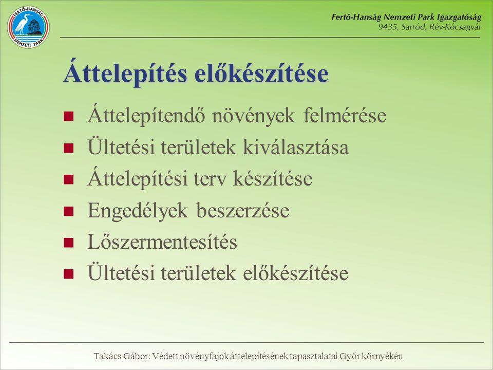 Felmérések  2001: előzetes felmérés (Takács – Papp – Laczik)  2003: elkészült a terület élőhelytérképe és természetességi értékelése (Bauer)  2004: az érintett 75 ha részletes felmérése (Nyugat-Magyarországi Egyetem)  2005: ismételt felmérés és az áttelepítendő tövek kijelölése Takács Gábor: Védett növényfajok áttelepítésének tapasztalatai Győr környékén