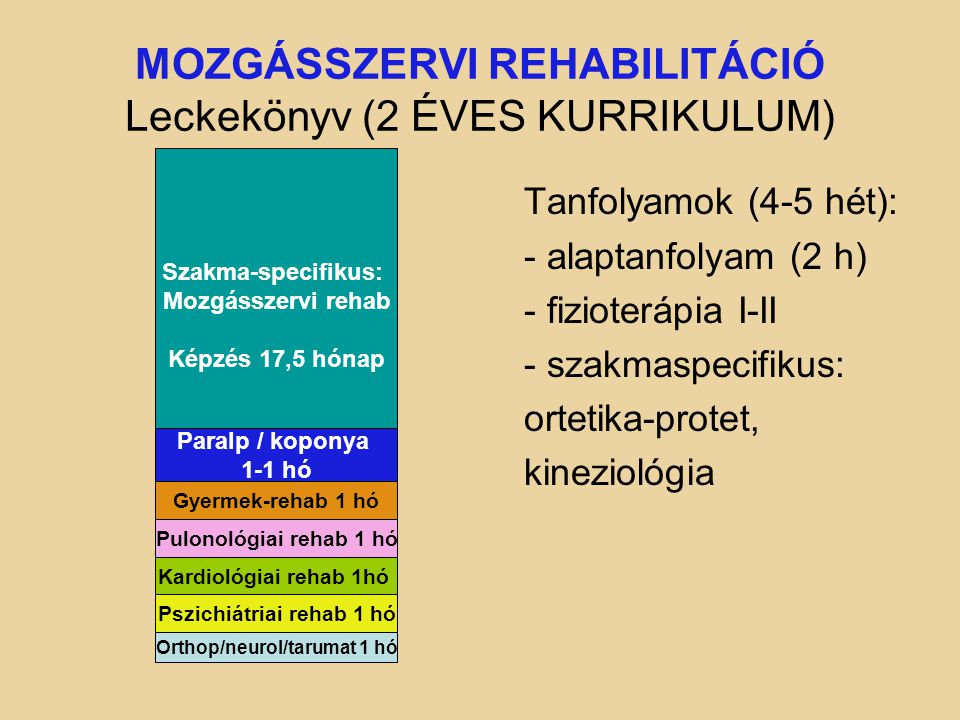 MOZGÁSSZERVI REHABILITÁCIÓ Leckekönyv (2 ÉVES KURRIKULUM) Tanfolyamok (4-5 hét): - alaptanfolyam (2 h) - fizioterápia I-II - szakmaspecifikus: ortetika-protet, kineziológia Szakma-specifikus: Mozgásszervi rehab Képzés 17,5 hónap Gyermek-rehab 1 hó Pulonológiai rehab 1 hó Paralp / koponya 1-1 hó Kardiológiai rehab 1hó Pszichiátriai rehab 1 hó Orthop/neurol/tarumat 1 hó